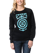 Crooks and Castles Girls Transporter Black Crew Neck Sweatshirt
