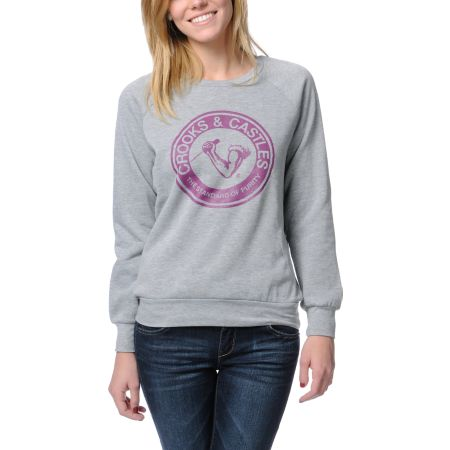 Crooks and Castles Standard Of Purity Grey Crew Neck Sweatshirt