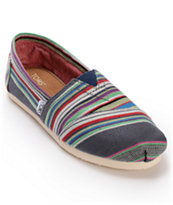 Toms Classics Denim Stripe Girls Slip On Shoe