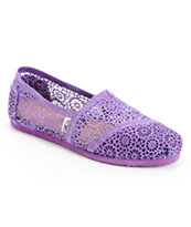 Toms Classics Purple Crochet Girls Slip On Shoe
