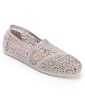 Toms Classics Silver Morocco Crochet Girls Slip On Shoe