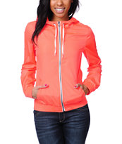Zine Girls Neon Coral Windbreaker Jacket