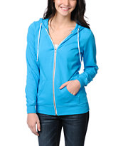 Zine Girls Hawiian Ocean Blue Zip Up Hoodie