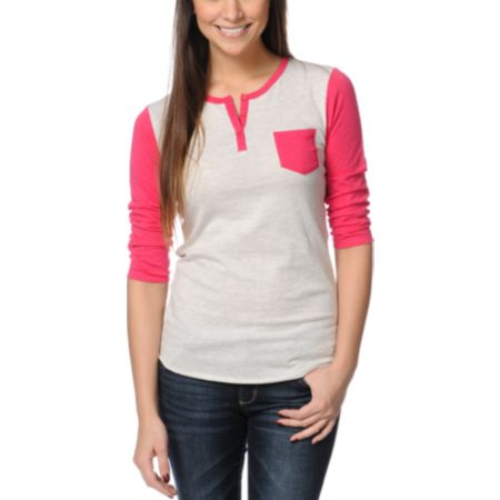 Zine Girls Henley Oatmeal & Red Baseball Tee Shirt