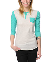 Zine Girls Henley Oatmeal & Green Baseball Tee Shirt