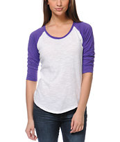 Zine Girls Raglan Purple & White Baseball Tee Shirt