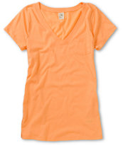 Zine Girls Peach V-Neck Tee Shirt