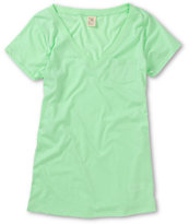 Zine Girls Mint Green V-Neck Tee Shirt