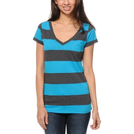 Zine Girls Turquoise & Charcoal Rugby Stripe V-Neck Tee Shirt