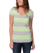 Zine Girls Mint & Grey Rugby Stripe V-Neck Tee Shirt