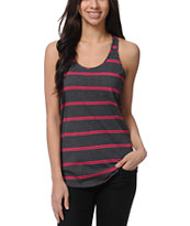 Zine Girls Pink & Charcoal Stripe Racerback Tank Top