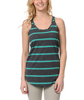 Zine Girls Teal & Charcoal Stripe Racerback Tank Top