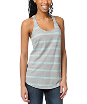 Zine Girls Grey & Mint Stripe Racerback Tank Top