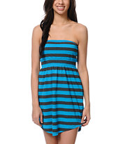 Empyre Girls Neon Blue & Charcoal Stripe Strapless Dress