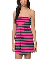 Empyre Girls Pink & Charcoal Stripe Strapless Dress