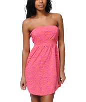 Empyre Girls Neon Coral Tonal Tribal Print Strapless Dress