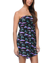 Empyre Girls Aloha Print Strapless Dress