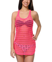 Empyre Girls Neon Pink Crochet Tank Dress