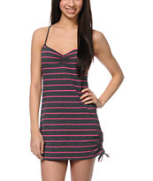 Empyre Girls Charcoal & Pink Stripe Side Tie Tank Dress
