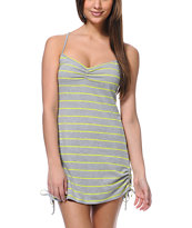 Empyre Girls Grey & Yellow Stripe Side Tie Tank Dress