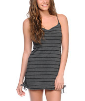 Empyre Girls Charcoal Stripe Side Tie Tank Dress