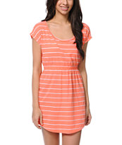 Empyre Girls Deep Back Coral & White Stripe Dress