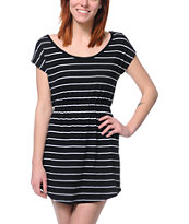 Empyre Girls Deep Back Black & White Stripe Dress
