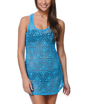 Empyre Girls Neon Blue Crochet Tank Dress