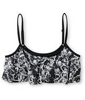 Crooks And Castles Venice Python Print Flounce Bikini Top