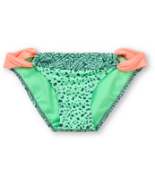 Malibu Warrior Dance Mint & Coral Loop Side Bikini Bottom