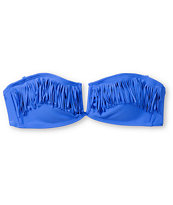 Malibu Candy Coated Blue Fringe Bandeau Bikini Top