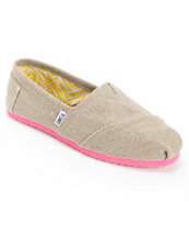 Toms Classics Grey Farrin & Pink Girls Slip On Shoes