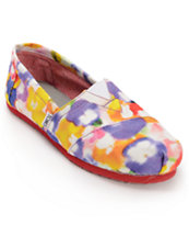 Toms Classics Yellow Pansies Girls Slip On Shoe