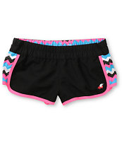 Glamour Kills Trinity Black & Pink Chevron Board Shorts