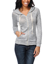 Love, Fire Open Stitch Heather Grey Zip Up Hoodie
