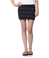 Billabong Show Me Black Tribal Print Mini Skirt
