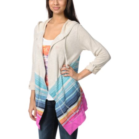 Billabong Coastal Clear Grey Hooded Cardigan Sweater