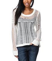 Billabong Girls Liv For Luv Natural Open Knit Sweater