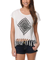 Billabong Let Go White Fringe Tank Top
