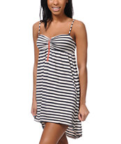 Roxy Sage Brush Blue Black Stripe Dress