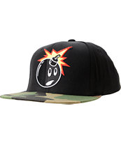The Hundreds Adam Black & Camo Print Snapback Hat