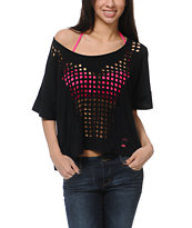 Fox Girls Eye Opener Laser Cut Dolman Top