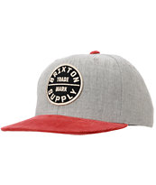 Brixton Oath III Heather Grey & Burgundy Snapback Hat