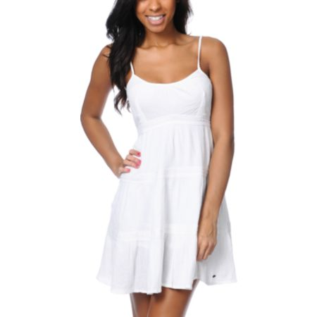 ONeill Eva Crochet White Gauze Dress