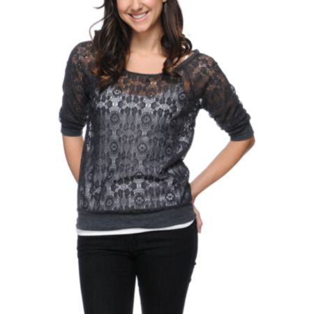 Lunachix Charcoal Lace Top