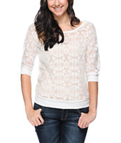 Lunachix Ivory White Lace Top