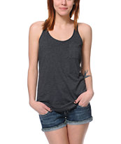 Zine Girls Racerback Charcoal Grey Tank Top