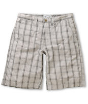 Free World Monitor Light Grey Plaid Chino Shorts