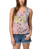 Billabong Hello Bondi Pink Tie Dye  Muscle Tank Top