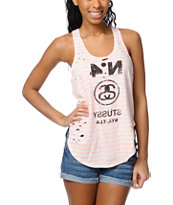 Stussy Girls Neon Blocked Coral Striped Tank Top